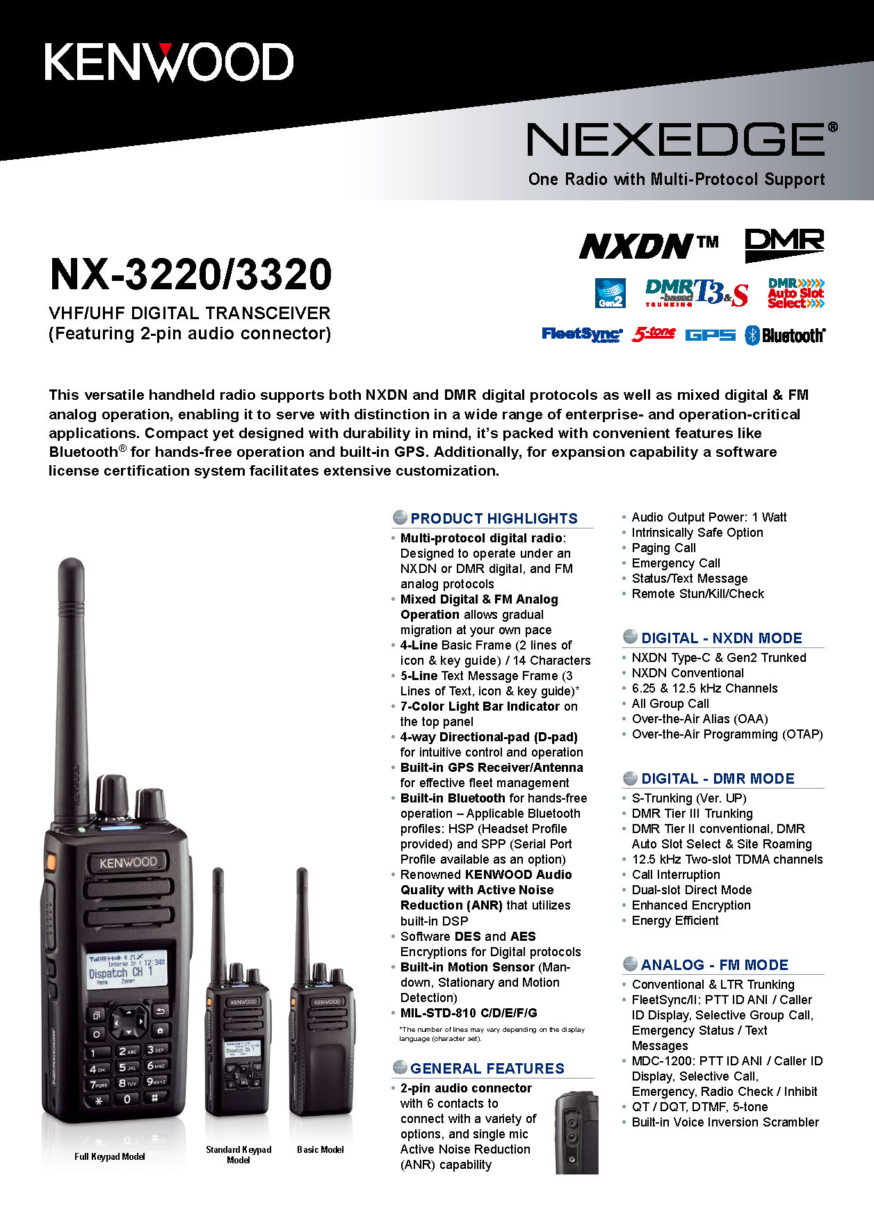 NX-3000(2-pin) Portable SpecSheet